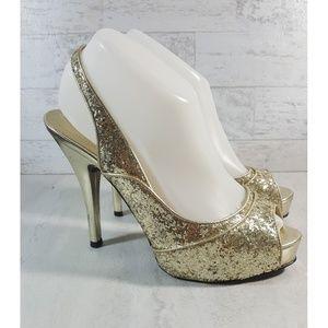 Guess gold glitter sling back heels platform 8